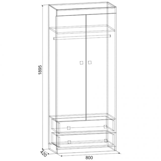 Шкаф 2-створчатый Челси с ящиками